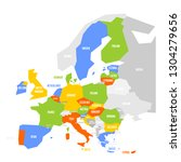 political map of europe with... | Shutterstock .eps vector #1304279656