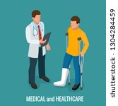 fracture of the leg  sprain or... | Shutterstock .eps vector #1304284459