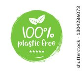 plastic free green icon badge.... | Shutterstock .eps vector #1304286073