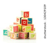 wooden toy cubes with letters.... | Shutterstock . vector #130429109