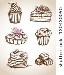 set of vintage hand drawn cakes ... | Shutterstock .eps vector #130430090