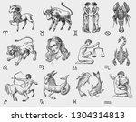 zodiac icons. astrology... | Shutterstock .eps vector #1304314813