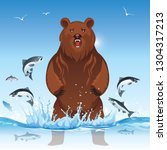 the bear is looking for food ...   Shutterstock .eps vector #1304317213