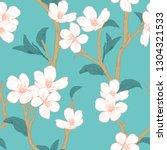 blooming tree. seamless pattern ... | Shutterstock .eps vector #1304321533