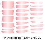 set of brush stroke  pink gold... | Shutterstock .eps vector #1304375320