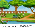 beautiful park landscape... | Shutterstock . vector #1304388676