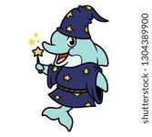 cartoon wizard dolphin character | Shutterstock .eps vector #1304389900