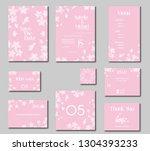 wedding invitation kit  set of... | Shutterstock .eps vector #1304393233