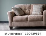 tan blue couch wall interior | Shutterstock . vector #130439594