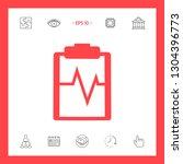 electrocardiogram symbol icon.... | Shutterstock .eps vector #1304396773
