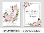 set of card with flower rose ... | Shutterstock .eps vector #1304398339