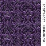 seamless damask pattern  dark... | Shutterstock . vector #1304418106