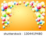 birthday template with colorful ... | Shutterstock .eps vector #1304419480