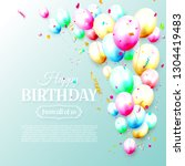 birthday template with colorful ... | Shutterstock .eps vector #1304419483