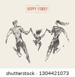 mother  father and child... | Shutterstock .eps vector #1304421073