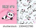 cute panda hand drawn... | Shutterstock .eps vector #1304422780