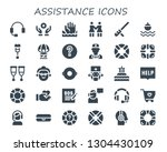 assistance icon set. 30 filled... | Shutterstock .eps vector #1304430109