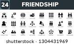 friendship icon set. 24 filled... | Shutterstock .eps vector #1304431969
