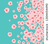 floral summer poster with pink... | Shutterstock .eps vector #1304454490