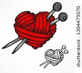 heart made of red wool yarn... | Shutterstock .eps vector #1304475070