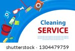 cleaning service blue and white ... | Shutterstock .eps vector #1304479759