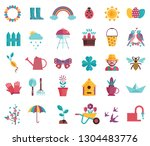 spring icons set with gardening ... | Shutterstock .eps vector #1304483776