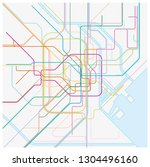 colored metro vector map of the ... | Shutterstock .eps vector #1304496160
