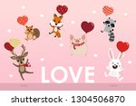 happy valentine's day greeting... | Shutterstock .eps vector #1304506870
