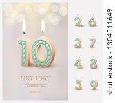 burning number 10 birthday... | Shutterstock .eps vector #1304511649