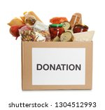 donation box full of different... | Shutterstock . vector #1304512993