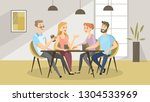 people at cafe. friends eating... | Shutterstock . vector #1304533969