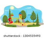 kids playground with slides and ... | Shutterstock .eps vector #1304535493