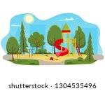 kids playground with slides and ... | Shutterstock .eps vector #1304535496