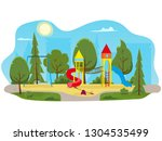 kids playground with slides and ... | Shutterstock .eps vector #1304535499
