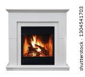 Burning Gas Fireplace Isolated...