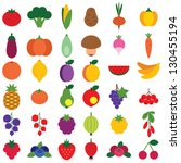 set of fruits and vegetables... | Shutterstock .eps vector #130455194