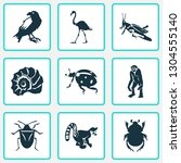 fauna icons set with raven ... | Shutterstock .eps vector #1304555140