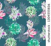 succulents watercolor... | Shutterstock . vector #1304555836