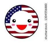 kawaii usa flag smile. flat... | Shutterstock .eps vector #1304556880