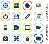digital icons set with cooler ... | Shutterstock .eps vector #1304557273