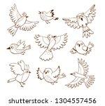 hand drawn flying birds in... | Shutterstock .eps vector #1304557456