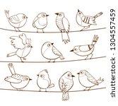 collection of cute little birds ... | Shutterstock .eps vector #1304557459
