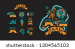 amusement park icons set in... | Shutterstock .eps vector #1304565103