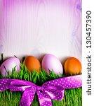 easter eggs on the grass... | Shutterstock . vector #130457390