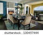 dinning room interior home...   Shutterstock . vector #130457444