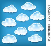 set of clouds on blue | Shutterstock . vector #130459079