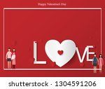 greeting card of valentine's... | Shutterstock .eps vector #1304591206