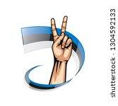 estonia flag and hand on white... | Shutterstock .eps vector #1304592133