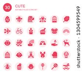 Stock vector cute icon set collection of filled cute icons included chocolate egg bee dog girl bird cage 1304599549