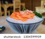 salmon sushi japanese food on... | Shutterstock . vector #1304599939
